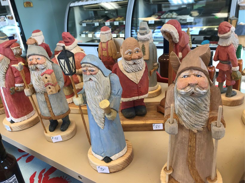 Christmas wood carvings by the local renowned artist Al Moeser
