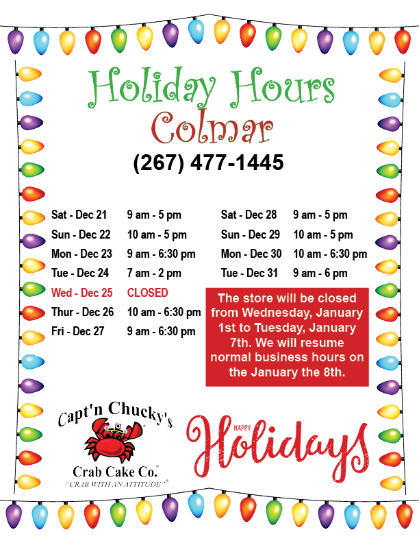 holiday hours 2019 Colmar